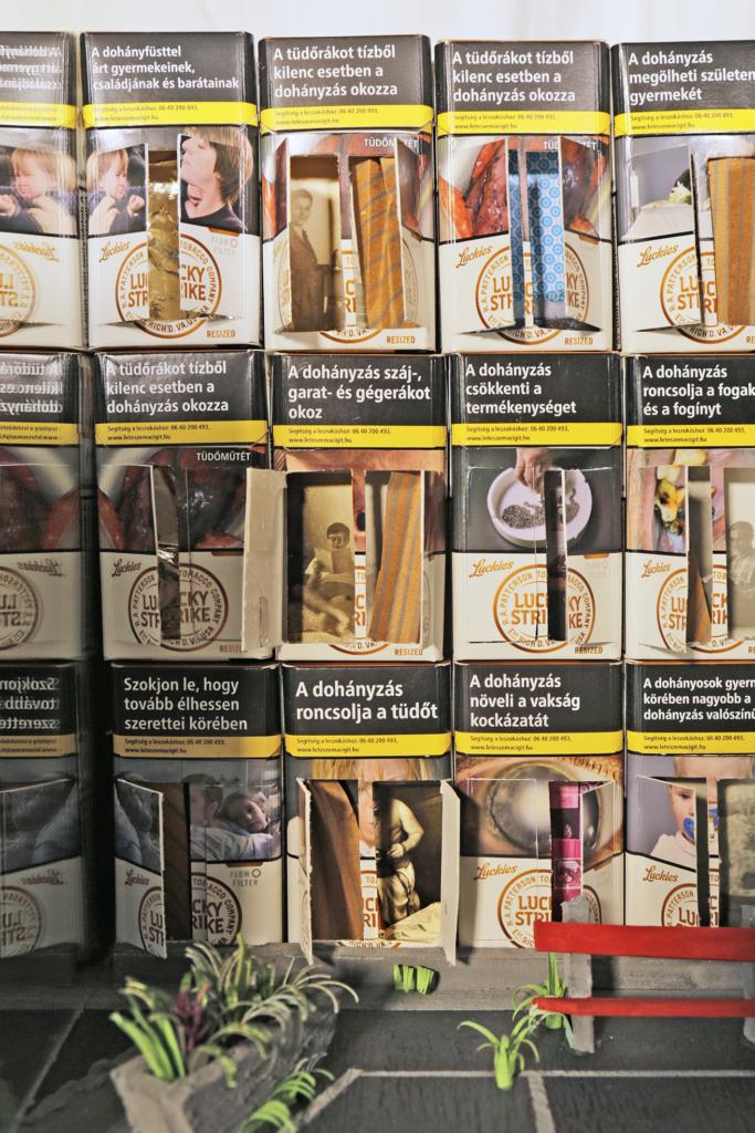 dohánygyár box cigarette installation box art artist marina sztefanu contemporary art budapest hungary